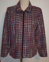 New Christopher Banks Large Jacket Zip Front Wool Tweed Lined Blazer - $28.97