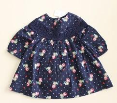 Baby GAP Infant 0-3 M Floral Dot Navy L/S Dress w/ Lace Trim Boho NWT Bl... - $17.82