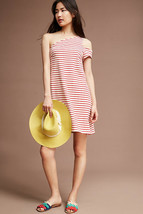 Anthropologie Maeve Marketa One-Shoulder Dress Red Striped Sz M MSRP $118  - $40.97