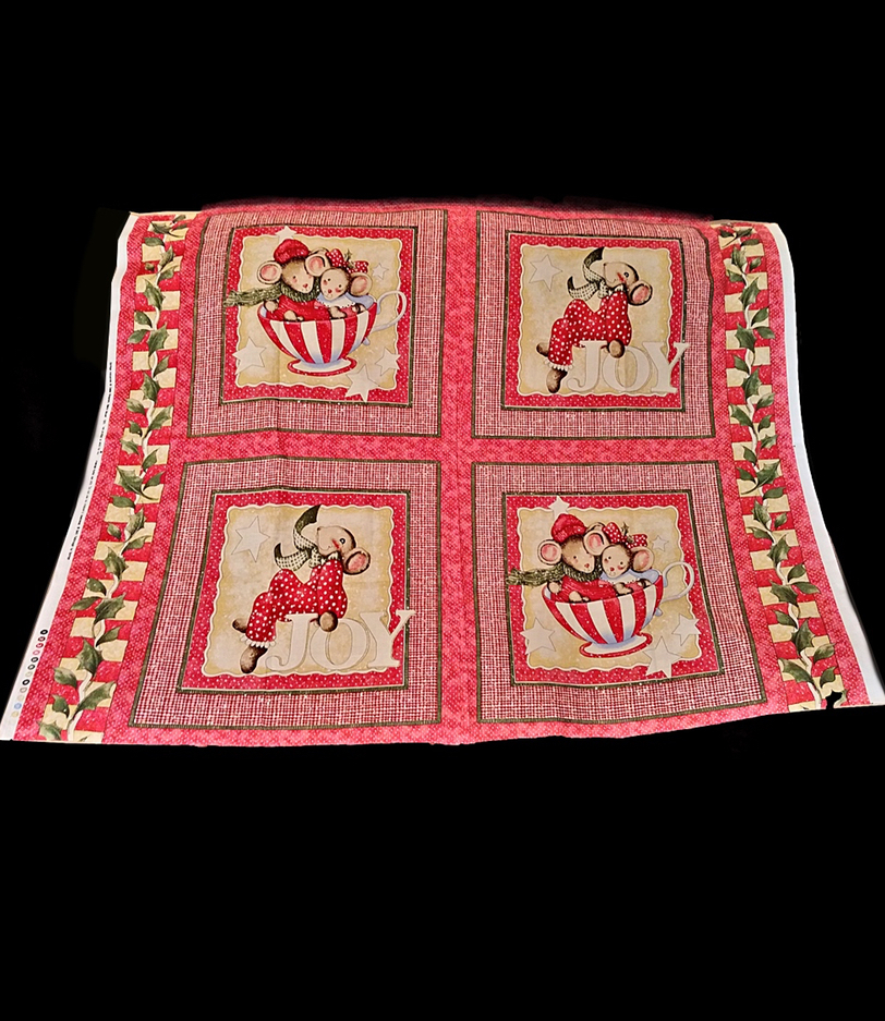 """Christmas Tiny Candy Canes /& Holly 20 4/"""" fabric squares quilt cotton quilting"""