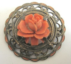 Antique Victorian Style Carved Celluloid Coral Rose Brooch Pin Signed NY - $19.79