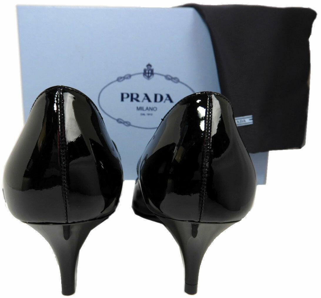 Taille 40 Prada Noeud Logo Cuir Noir Tennis Chaussures Bout Pointu Mary Jane image 5
