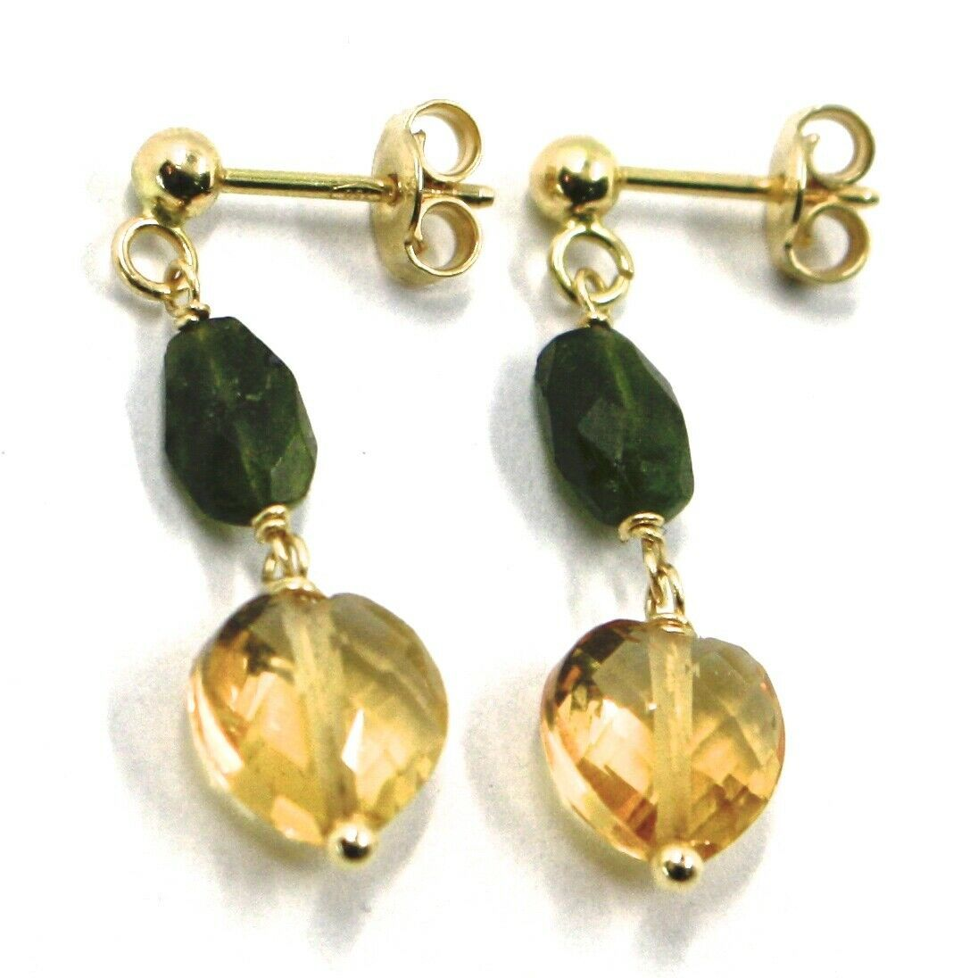 18K YELLOW GOLD PENDANT EARRINGS, HEART CITRINE AND GREEN TOURMALINE 1.0 INCHES