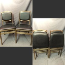 Stakmore Vintage Folding Chair Pair Mid Century Black Vinyl Made In USA - $98.99