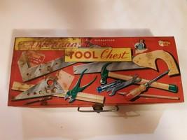 Vintage Tin Tool Box - American Junior Carpenter Tool Chest/Case (No tools) - $8.90
