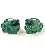 Green Frog Votive Holders Set of 2 Indiana Glass Heavy - $29.99