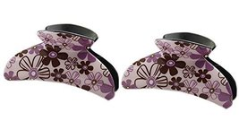 Set of 2 Korean Style Floral Claw Clips Purple