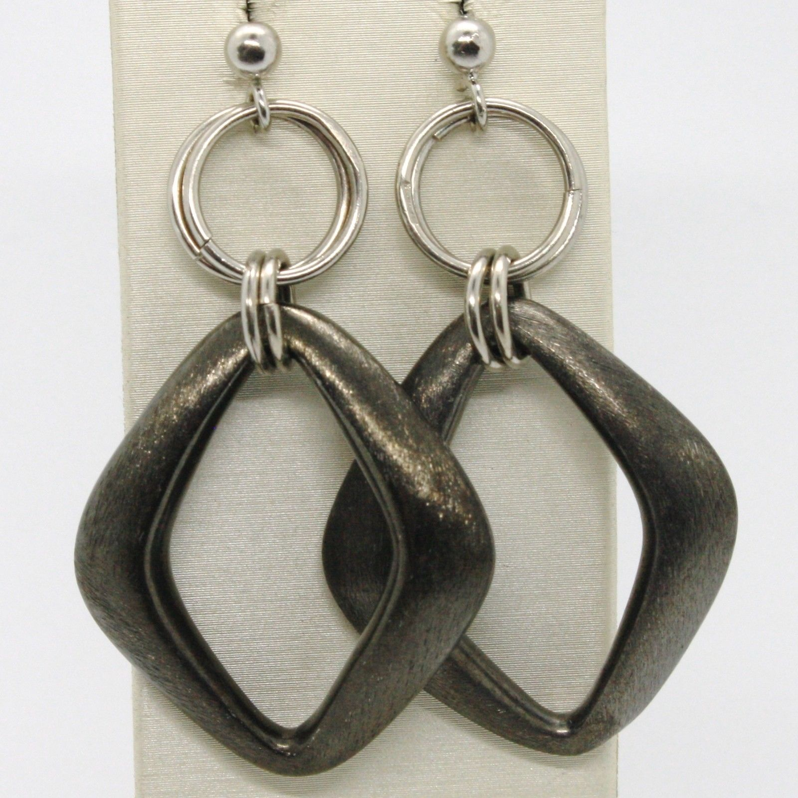 Earrings Silver 925 Run and Burnished Pendant with Argyle Satin Burnished