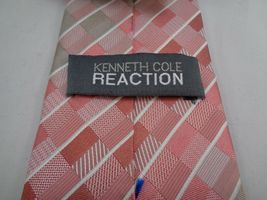 "KENNETH COLE REACTION PINK CHECKERED SILK NECKTIE 60"" LONG 3"" WIDE image 4"