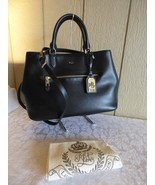 $228.00 Lauren Ralph Lauren Saffiano Leather Sabine Medium Satchel, Black - $103.95