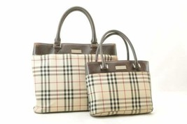 BURBERRY Nova Check Hand Bag 2Set Brown Canvas Auth th095 - $210.00
