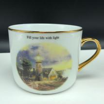 THOMAS KINKADE MUG CUP Fill your life with Light in Storm teleflora lighthouse - $17.82