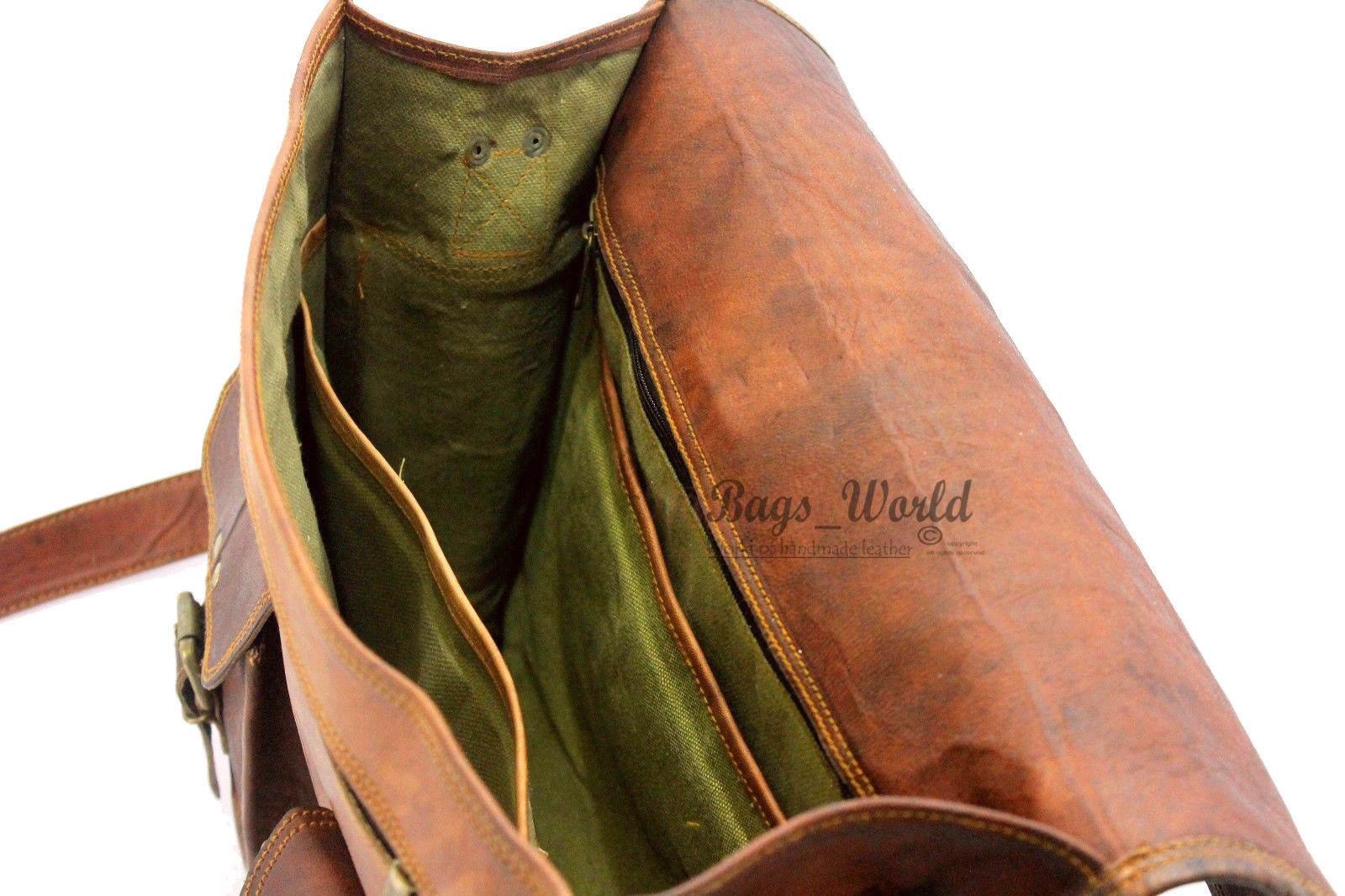 """15"""" Men's Genuine Leather Vintage Brown Messenger Bag Shoulder Laptop Bag"""