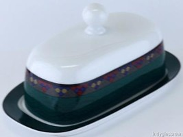 Dansk Quilting's EMERALD BRAID 1/4 lb. Covered Butter Dish UNUSED - $37.47
