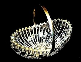 Heavy Glass Basketwith Metal Carrier with handle / Leaf DesignAA18-11912 Vint image 9