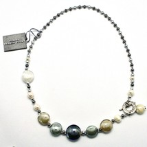 Necklace Antica Murrina Venezia Lampwork Murano Glass Charm Bead Beige Sand Grey image 2