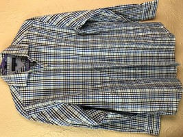 Tommy Hilfiger Mens  Plaid Button Down Long sleeve shirt 15  32-33 Cotto... - $13.98