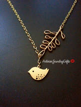 Matte Gold Skylark Bird Branch Lariat Necklace Gold Sparrow Necklace Gol... - $34.00+