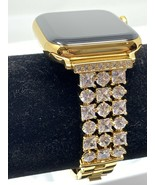 24K Gold Plated 44MM Apple Watch SERIES 4 Gold Link Band Diamond Rhinest... - $1,116.27