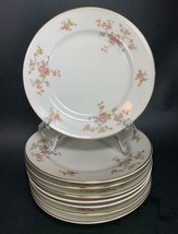 Johann Haviland Bavaria Set of 8 Dessert Plates Yellow Pink Roses Gold Trim E628 - $24.74