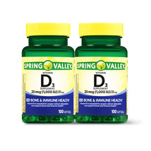 Spring Valley D3, 1000iu, Twin Pack (100softgels each bottle) - $16.94