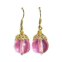 Filigree/10mm Pink Glass Bd 14k Gold Drop Earrings - $14.99