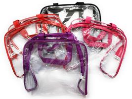 """9"""" x 8"""" Event Stadium Clear See Thru Handbag / Makeup Bag with Colored Trim - $13.26 CAD+"""