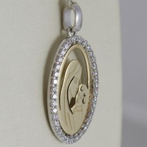 Oval Medal Pendant Gold Yellow White 750 18k Virgin Mary and Jesus Zirconia image 2