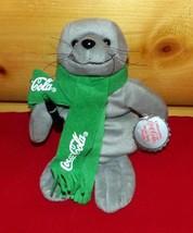 "Coca Cola Coke Gray 8"" Plush Seal in Green Coke Scarf with Soda Bottle - $4.29"
