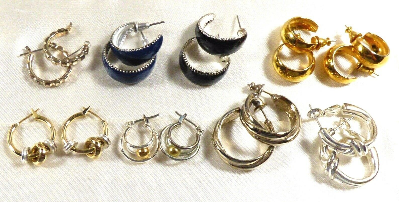 Primary image for Lot of 9 fashion silver & gold tone metal hood earrings earrings