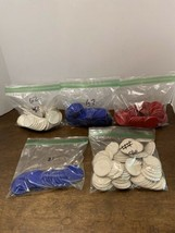 "Vintage Lot of 288 Poker Chips  Cardboard Red White Blue 1 1/2"" Clover P... - $24.75"