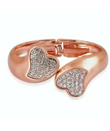 Kissable  Heart Cuff Bangle Bracelet Crystal Rose tone  7.25 in MOTHER'S... - $69.18