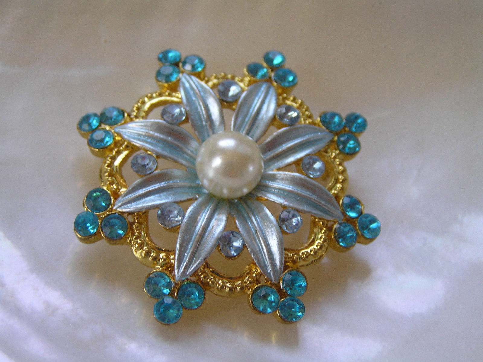 Primary image for Estate Blue Enamel with Faux Pearl Center Flower & Blue Rhinestone Edge Accents