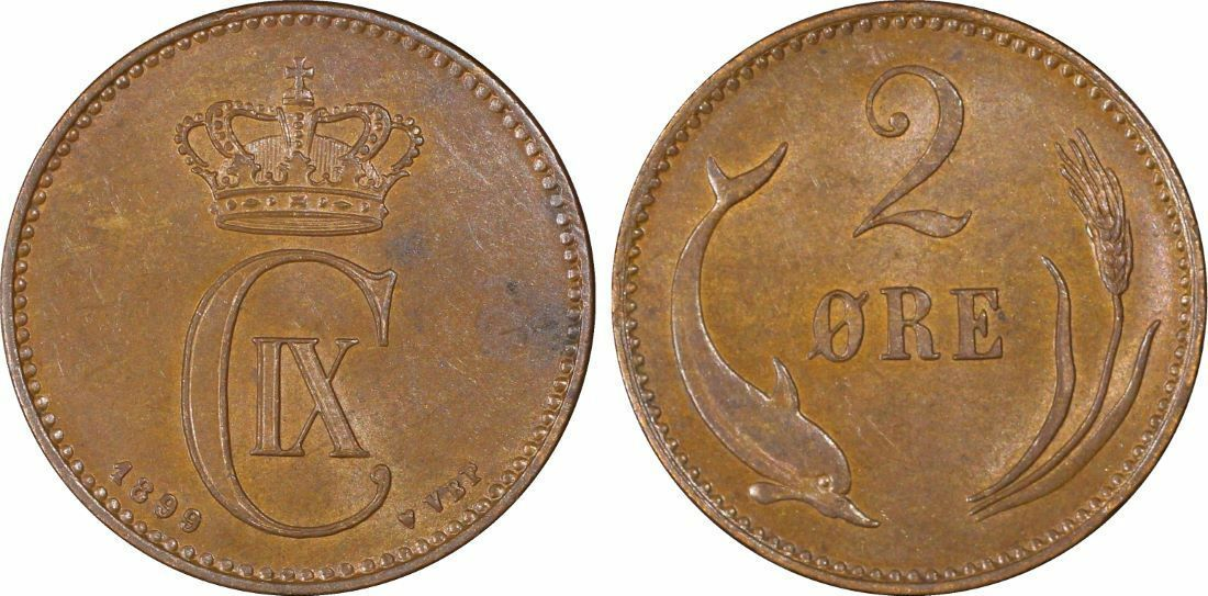 1899-VBP Denmark 2 Ore PCGS MS62 Brown Lot#G949 Nice UNC Piece