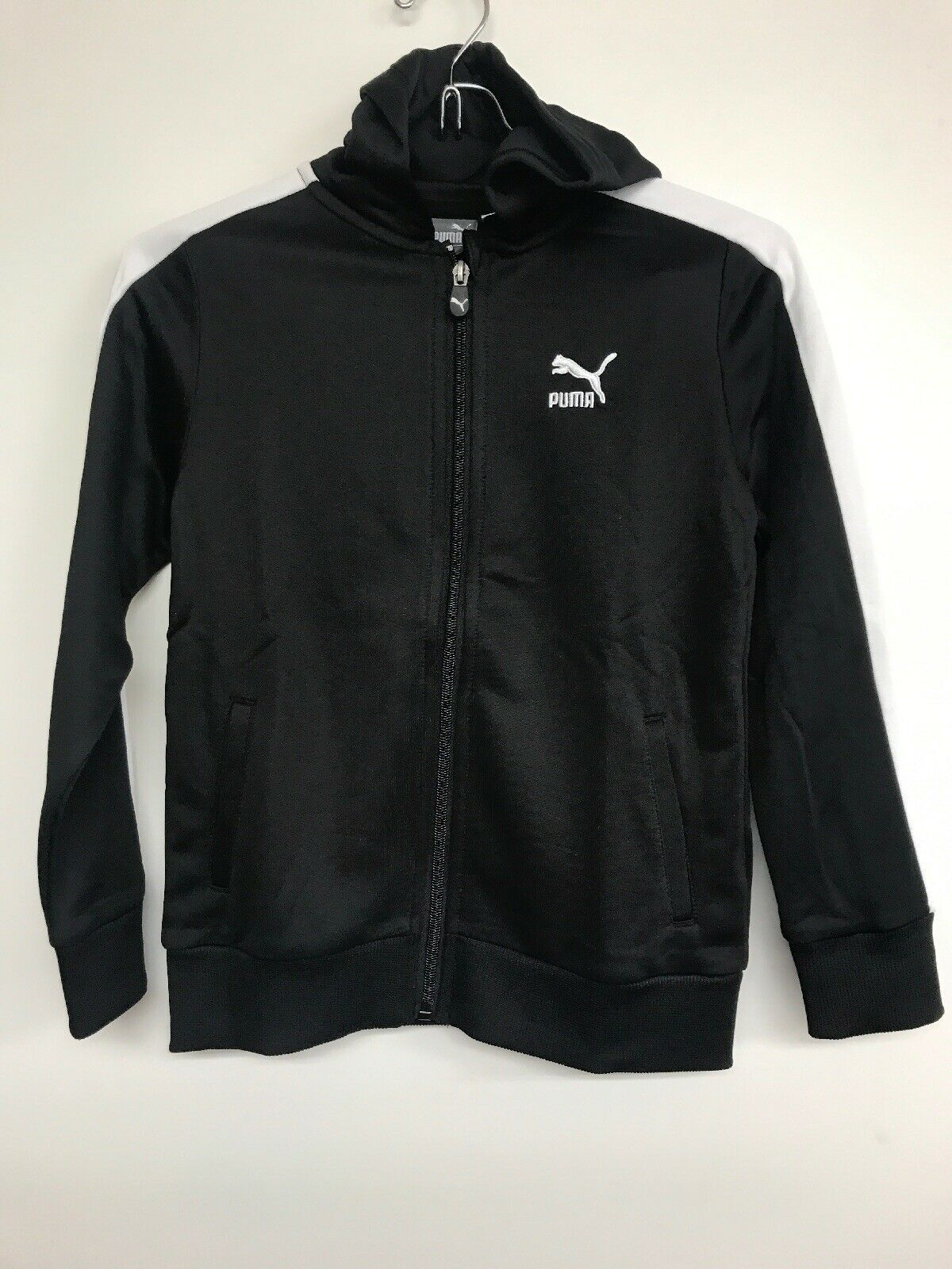 Primary image for Youth Puma Sports Hoodie Full Zip Track Jacket  Black/ White   Size 7