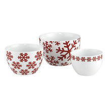 CRATE&BARREL HOLIDAY CHRISTMAS SNOWFLAKE NESTING BOWLS Set 3 Red & White... - £34.89 GBP