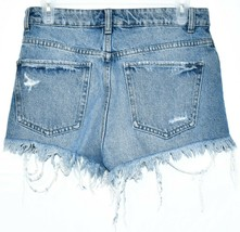 Zara Women's Tattered Raw Hem Distressed Blue Denim Button Up Jean Shorts Size 4 image 2