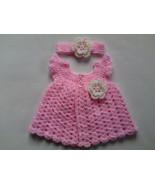 Crochet pattern baby dress and headband, tutorial, pink baby dress  - $1.59