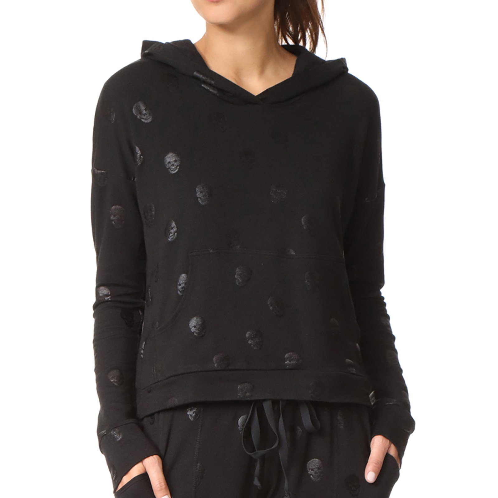 Terez Women Black French Terry Cross Over Back Hoodie, Black Skull Foil