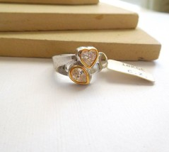 18k Gold Electroplate Cubic Zirconia CZ Heart Design Mixed Metal Ring Si... - $4.94