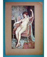 NUDE YOung Maiden in Chair Reposing Holding Fan - COLOR Typogravure Print - $22.95
