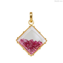 Genuine Ruby Gemstone Square Shape Shaker Pendant 18K Solid Yellow Gold ... - $857.29