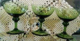 Green Glass Stemware Vintage Unmarked - $30.00