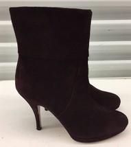 Salvatore Ferragamo Bootie Purple Leather Suede Platform Ankle Boots Sz 7 B - £113.44 GBP