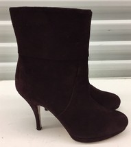 Salvatore Ferragamo Bootie Purple Leather Suede Platform Ankle Boots Sz 7 B - $149.28