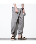 "New Men""s Pant Top Quality Men""s Summer Casual Pants Natural Cotton Line... - £17.91 GBP"