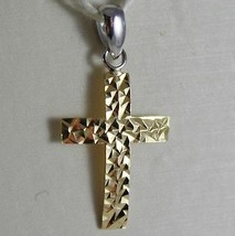 18K WHITE YELLOW GOLD CROSS, PENDANT, STYLIZED, HAMMERED, ARCHED, MADE IN ITALY image 1