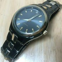 Vintage Allude Men Real Diamond Gold Black Analog Quartz Watch Hours~New... - $17.09