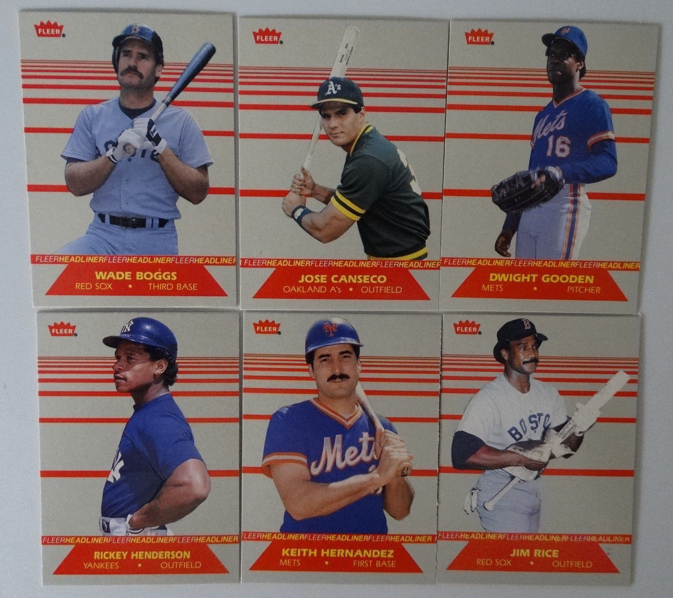 1987 Fleer Headliners Inserts Set of 6 Baseball Cards image 1