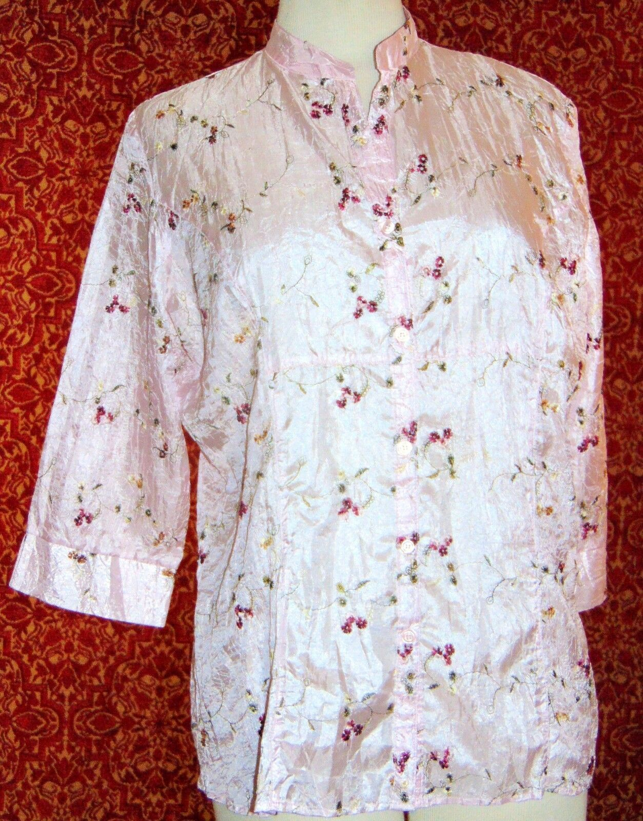 CLAUDIA RICHARD pink floral polyester 3/4 sleeve button blouse M (T43-04E9G)